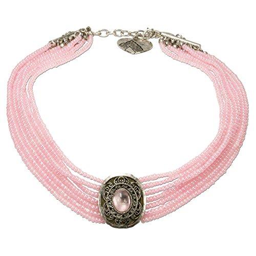 Alpenflüstern Trachten-Perlen-Kropfkette Josepha - Elegante Trachtenkette - nostalgischer Damen-Trachtenschmuck, Filigrane Dirndlkette rosé-rosa DHK185