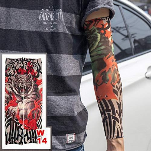 tzxdbh 3 Stücke-Heiße Neue Tattoo Hülse Elastische Nylon Arm Socken Schwarz Braun Tribal Design Blume Arm Männer und Frauen 3 Stücke-