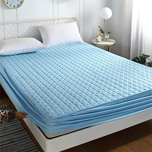 Sky Blue Bed Cover Queen Size Breathable Solid Color Mattress Cover Washable Cotton Embossed,Sky Blue 1,180x200x40CM