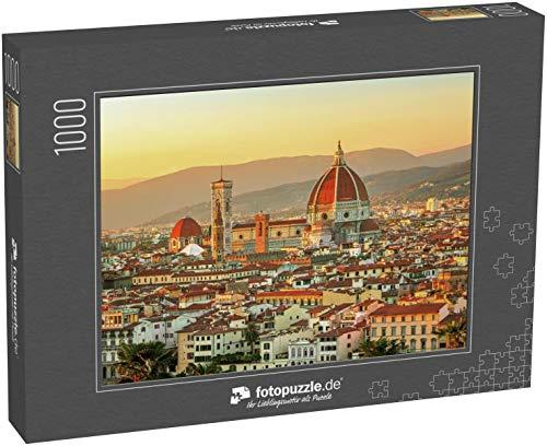 fotopuzzle.de Puzzle 1000 Teile Panoramablick auf das Herz der erstaunlichen Stadt Florenz und die Kathedrale Santa Maria del Fiore bei Sonnenaufgang (1000, 200 oder 2000 Teile)