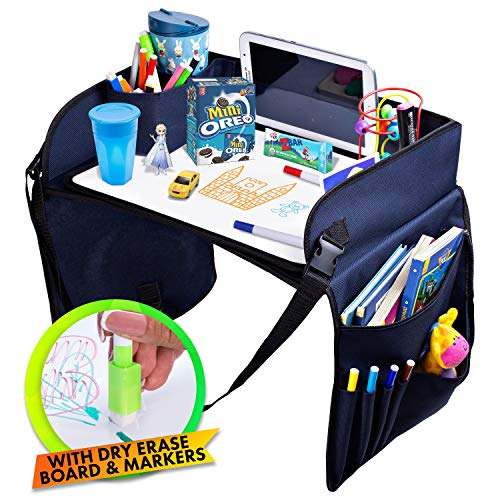Kids Travel Tray Car Seat - Activity Tray for Car and Road Trip Organizer for Kids, Toddlers - Snack and Play Travel Tray - Waterproof, Sturdy Nylon - Includes Dry Erase Board and Markers - SKIPIDOO
