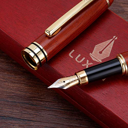 Handcrafted Refillable Rosewood Pen Set with Fine Medium Nib Ink Refill Converter You Get Best Signature Calligraphy Antique Executive Business Gift Pens - 100% Quality Guarantee