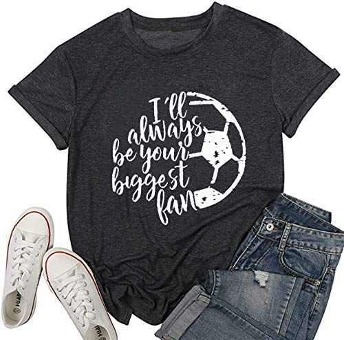 I'll Always be Your Biggest Fan Baseball Mom T Shirt Softball Cute Fashion Tops(Large) Gray
