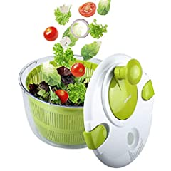HIGH QUALITY SALAD SPINNER: Our Professional vegetable salad spinner made from high quality BPA free plastic material; the material of this big salad spinner set is non-toxic, safe and reliable for holding food, dependable and long lasting INCREDIBLE...