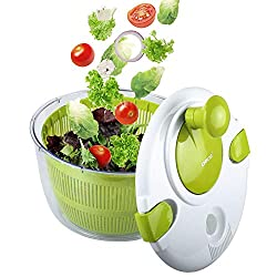 professional OVOS Salad Spinner Large 5 Quart Fruit and Vegetable Dryer Quick Dry Design BPA Free Drying…