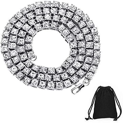 Vergoldete Hip HopTennis Kette beschichtet Zirkonia Halskette Iced Out Chain Diamant Tennis Halskette Silber und Gold Tennis Kette Strass eingelegte Halskette Schmuck Geschenk