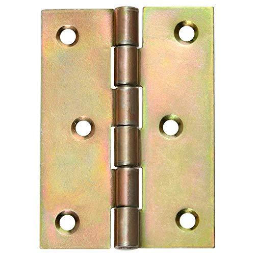 8 Gerollte Scharniere Türscharniere halbbreit Retro 80 x 60 mm Gelb Verzinkt