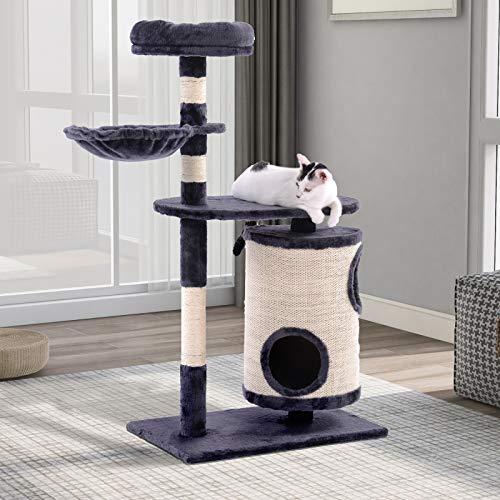 PovKeever Katzenbaum mit Kratztonne,Katzenbaum mit Zylindrisches Katzenhaus,Kratzbaum Aktivitätszentrum für Katzen(Dunkelgrau)