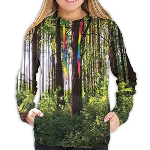 Women's Hoodies Sweatshirts,Pathway in A Shady Forest of Bushes and Thick Trunks Grass Unique Wild Life Scenery M