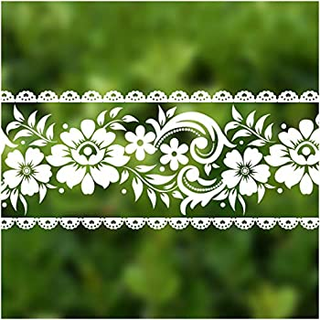 VEELIKE Lace Border Window Sticker Transparent White Removable Peel and Stick Wallpaper Wall Waist Line Sticker for Wall Glass Window Door Home Decor DIY  4 inch×32.8 ft