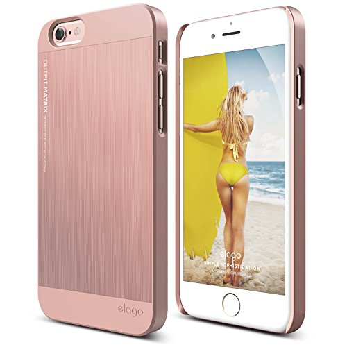 elago [Outift Matrix][Rose Gold] - [Premium Hybrid Construction][Brushed Aluminum][Spark Design Award] - for iPhone 6/6S Plus