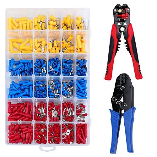 HSEAMALL Abisolierzange, 3-in-1 Crimpzange Kabelschuhe Set, automatisches Abisolierwerkzeug, Kabelschuhzange Crimpzange und Drahtschneider mit 500 Crimpverbindern 12-10 AWG (4,0-6,0 mm2)