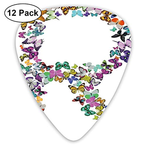 Guitar Picks - Abstract Art Colorful Designs,An Assortment Of Butterflies In The Shape Of Uppercase Letter Nature Inspired Font,Unique Guitar Gift,For Bass Electric & Acoustic Guitars-12 Pack