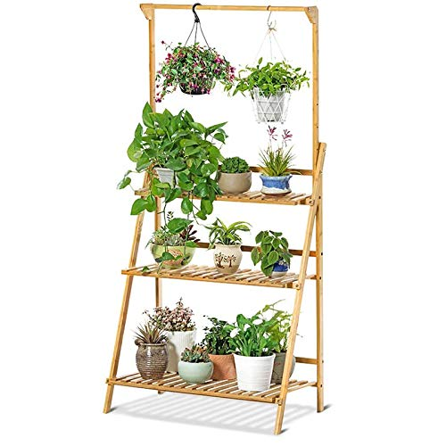 LOVEHOUGE Soporte para Plantas De Bambú, Estante De Escalera con Soporte para Macetas Múltiples De 3 Niveles, Organizador De Estantes para Flores para Interiores Y Exteriores
