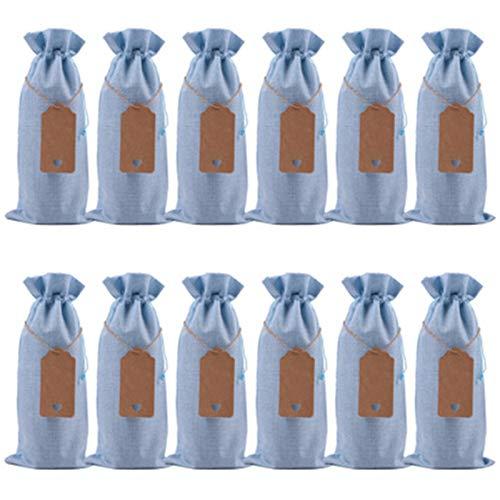 SWECOMZE 12 unidades de arpillera para botella de vino con etiqueta, cordón de arpillera, bolsa de regalo, fiesta, boda, botella de vino, bolsa de la compra (azul cielo)