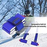 Keen so Ski Snowboard Shoulder Carrier Strap Holder, Nylon Adjustable Shoulder Sling with Carabiner Hooks and Cushioned (Red/Blue)(Blue)