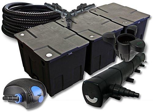 SunSun Filter Set für 90000l Teich mit 72W Teichklärer und 100W ECO Pumpe 25m Schlauch Skimmer SK30