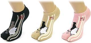 【レディース】スニーカー 足袋 ソックス 3足セット モダン和柄 22-25cm 各色セット