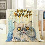 Mugod Persian Cat Throw Blanket White Kitten Fantasy Dream Butterflies Colorful Grunge Wallpape Soft Warm Lightweight Cozy Luxury Suitable for Bedding Sofa Couch 40x50Inch