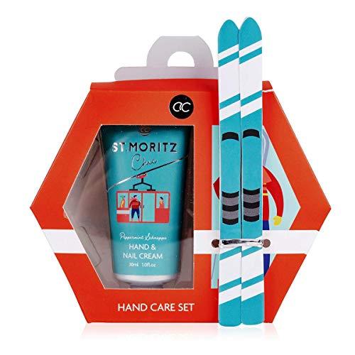 ALPINE CHIC Handpflegeset in Geschenkbox mit 30ml Hand- & Nagelcreme + 2 Ski als Nagelfeile