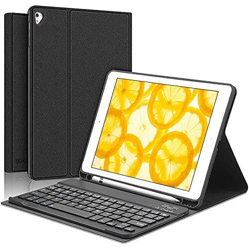 iPad Keyboard Case 9.7 inch, Compatible with iPad 6th Generation,iPad 5th Generation, iPad Pro 9.7 inch, iPad Air 2,iPad Air1, Protective Folio Cover with Wireless Bluetooth Keyboard -Black