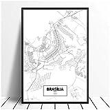 Moderne Brasilia, Brasilien Schwarz Weiß Weltstadtplan