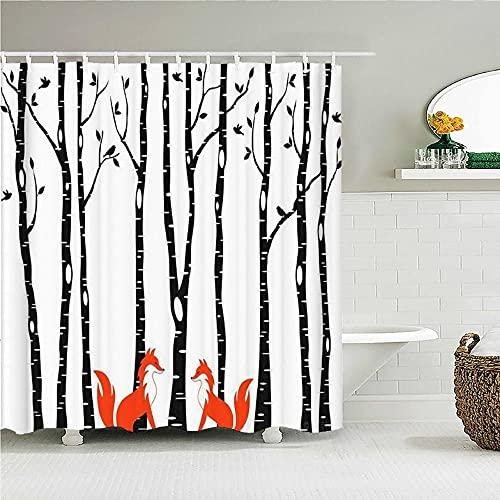 Baum & Füchse Duschvorhang Birke Waldvögel Print Badvorhang Polyester Stoff Bad Dekor Duschvorhänge mit Haken72