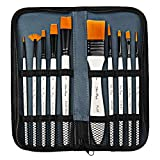 <span class='highlight'><span class='highlight'>nuoshen</span></span> Acrylic Paint Brush Set ,10 Brushes in Wallet Ideal Paint Brush Set Perfect for Beginners, Professionals and Artists