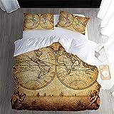 LAMPWF Bettwäsche - Retro Weltkarte - 180x210 cm Bettbezug Set mit 3 teilig microfaser Bettwäsche Flauschige Bettbezüge mit Reißverschluss und 2 mal 50x75cm Kissenbezug