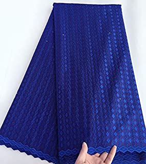 Laliva Light Blue Polish Cotton lace for Men African Voile lace Swiss Fabric 5 Yards per Piece Hot Sale - (Color: Blue)