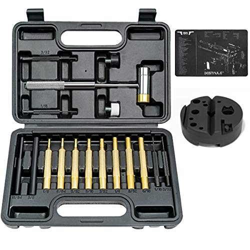 BESTNULE Roll Pin Punch Set, Gunsmithing Punch Tools, Made of Solid Material Including Bench Block and Gunsmithing Cleaning Mat, Ideal for Gunsmithing Maintenance with Organizer Storage Container