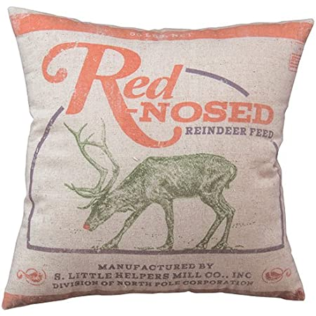 Amazon Com Primitives By Kathy Holiday Reindeer Feed Throw Pillow Home Kitchen