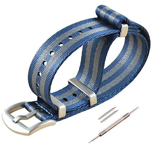 22mm Blau/grau NATO Uhrenarmband Sicherheitsgurt Nylon Watch Strap G10 Armband Herren Gebürstete Schnalle
