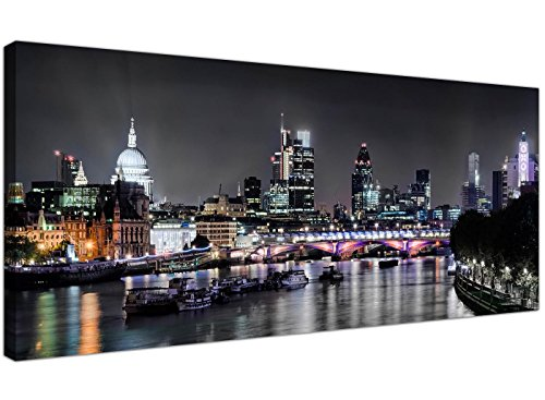 Modern Black and White Canvas Prints of London at Night...