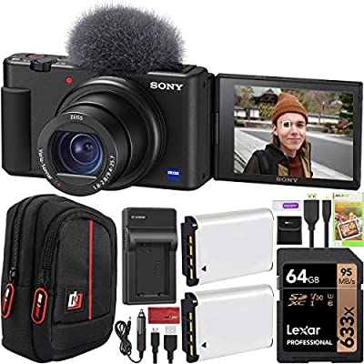 Sony ZV-1 Compact Digital Vlogging 4K HDR Video Camera for Content Creators & Vloggers DCZV1/B Double Battery Bundle with Deco Gear Case + 64GB Card + External Charger and Accessories by Sony