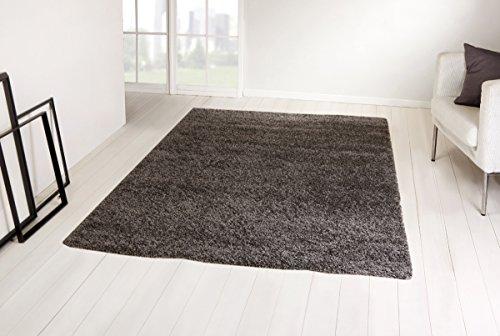 Shaggy Hochflor Langflor Teppich Trend von TaraCarpet dunkel grau 200x200 cm quadratisch