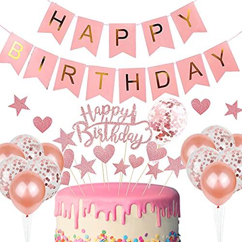 YIIFELL Tortendeko Geburtstag&Happy Birthday Banner,Happy Birthday Kuchendeko,Rose Gold Happy Birthday deko für Erwachsene und Kinder Geburtstag Party