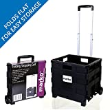 Marko Storage Solutions 25KG Large Heavy Duty Shopping Cart Trolley Plastic Wheels Crate Foldable Car Camping...