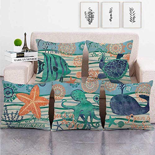 XQKQ garden cushions, Cushion Covers 5 Pieces Linen Throw Pillow Covers Case Square For Sofa Home Decorative Livingroom Bed Office Car Waist (Without Core) 18x18inch Octopus, whale, ocean