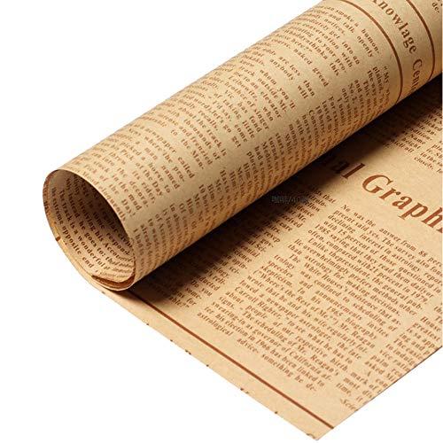 包装紙 ラッピング 英字新聞紙柄 ラッピングペーパー 40枚 アンティーク調 厚め お花 プレゼント ギフト (茶)