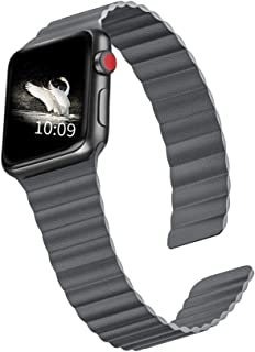 ILiBenQ Compatible for Apple Watch Band 44mm 42mm 40mm 38mm - Magnetic Leather Loop Strap Wristband for iWatch Series 5/4/3/2/1