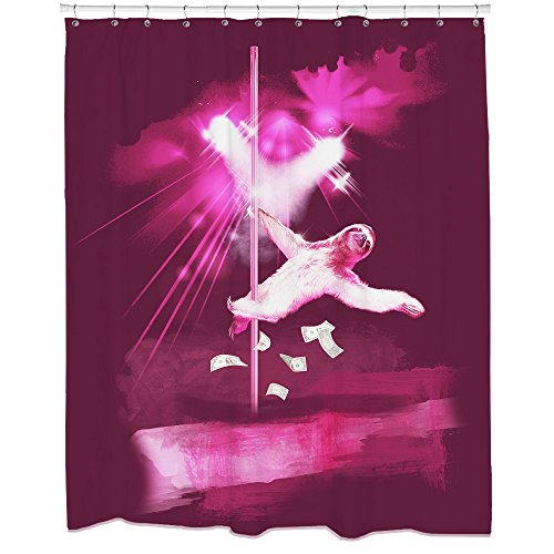 Sharp Shirter Funny Sloth Shower Curtain Set with Crazy Animal Art Weird Gag Gift Cool Purple Stripper Artwork Hooks Included