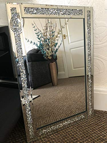 CRUSHED JEWEL WALL MIRROR LOOSE DIAMANTE NEW CRYSTAL SQUARE DECOR MIRROR GIFT 60X40CM