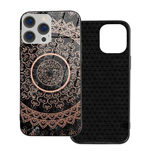 MEUYGOFLZ Compatible con iPhone 12 Pro Max, carcasa de cuerpo completo, carcasa de cristal TPU suave para iPhone 12 Pro Max 6.7 pulgadas, mandala, oro rosa y mármol negro