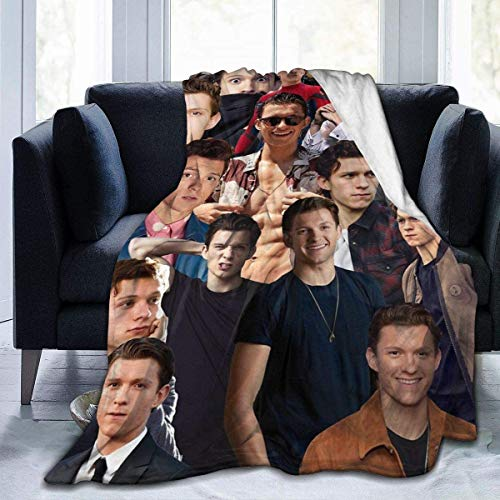 KINGAM Manta de franela I Love Tom-Holland Collage Cover Manta para cama, sofá, sala de estar, verano para adultos y niños