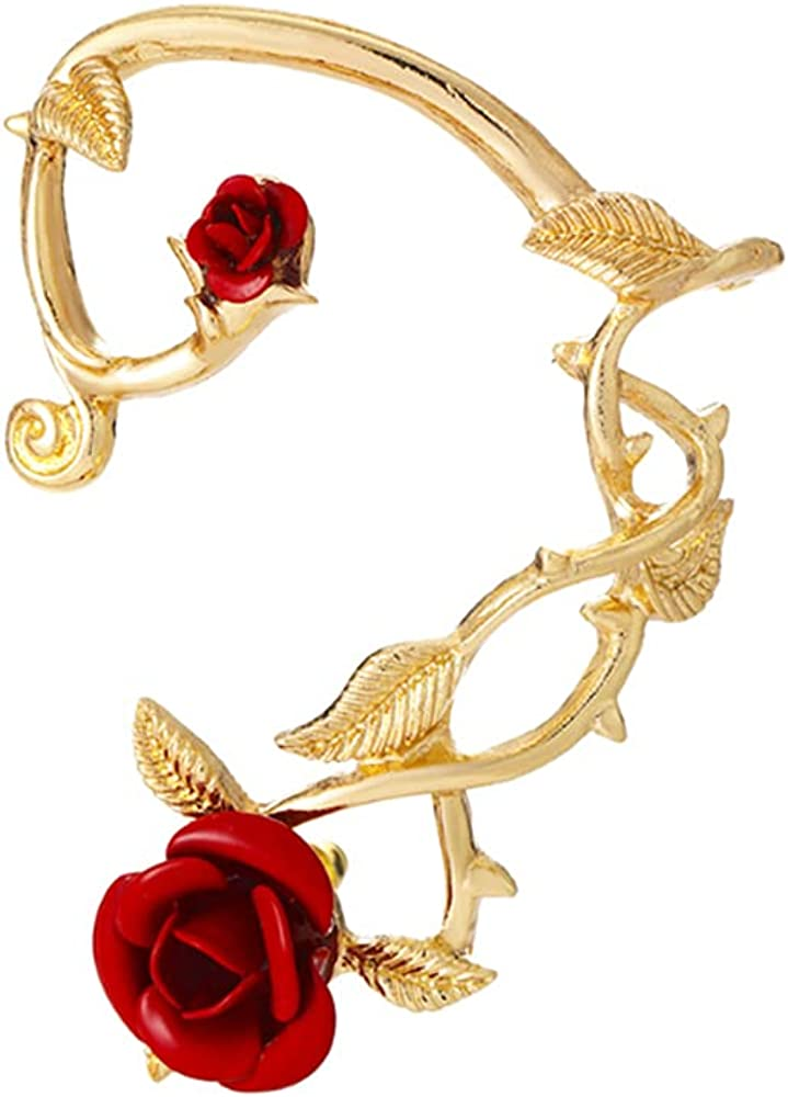Retro Rose Flower Climbers Max 84% OFF Crawler Metal Earrings Large-scale sale Jacket Sparkly
