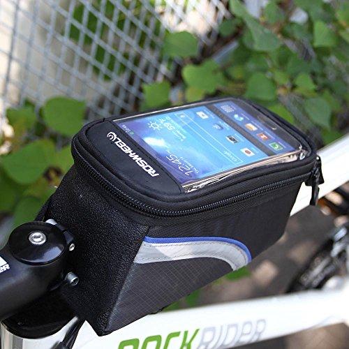 SHIZIZUO Bolsas de marco de bicicleta, ROSWHEEL Ciclismo Bicicleta Tubo Superior de la Bicicleta Teléfono Móvil Smartphone Bolsa Bolsa L-72605.03