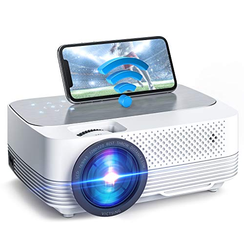 Mini Beamer 6000 Lumen,Native 720P Beamer Full HD, VicTsing WiFi Beamer Heimkino Projektor, Support 1080P Full HD, kompatibel mit TV Stick, HDMI, SD, AV, VGA, USB, PS4, X-Box, iOS/Android Smartphone