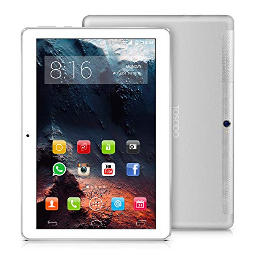 TOSCIDO 4G LTE Tablet 10 Zoll - Android 10.0 ,4GB RAM,64GB ROM,Octa Core ,Dual SIM,WiFi,Dual Stereo Lautsprecher-Silber