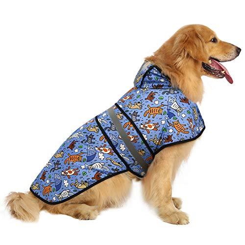 HDE Hunde-Regenmantel mit Kapuze, für kleine bis X-Large Hunde und Welpen, X-Large, Katzen und Hunde
